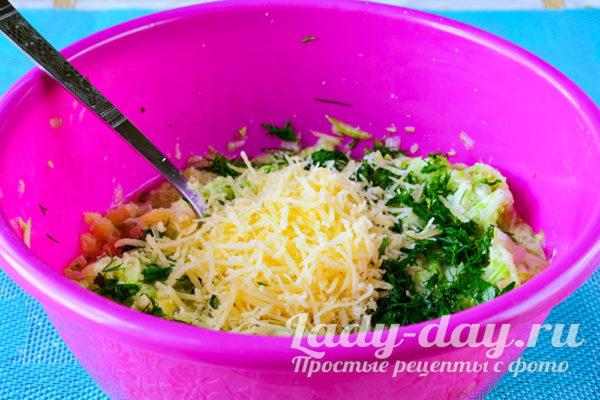 добавить зелень, сыр