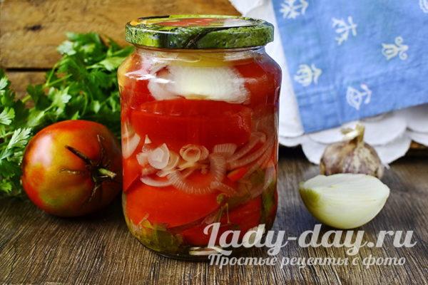 готовые помидоры с луком