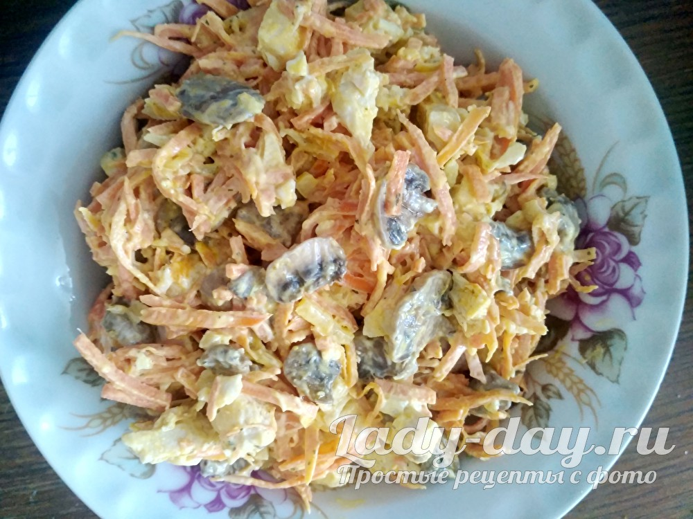 салат с курицей грибами и корейской морковью