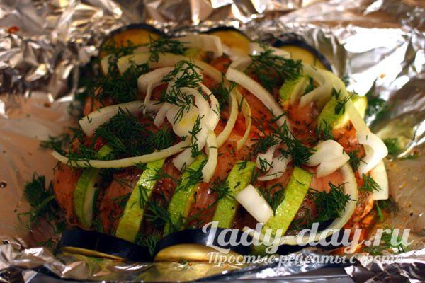 в фольге мясо с овощами