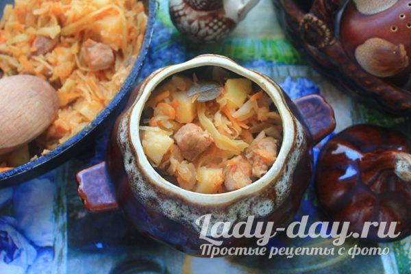 тушеная картошка с капустой и мясом