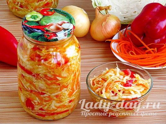 Рецепт салата из капусты на зиму с болгарским перцем