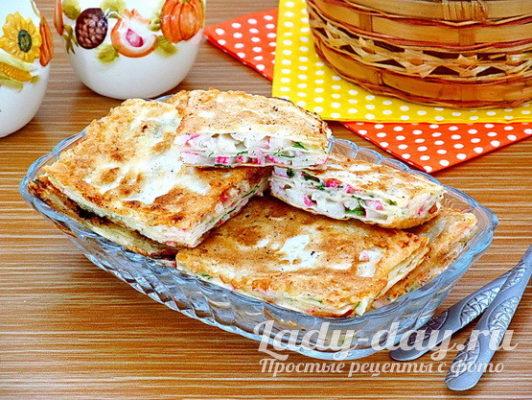 закуска из лаваша с крабовыми палочками рецепт с фото пошагово