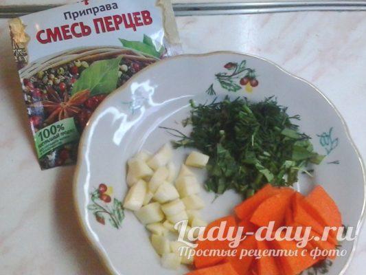 чеснок, зелень, морковь