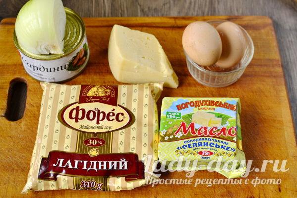 Продукты для салата Мимоза