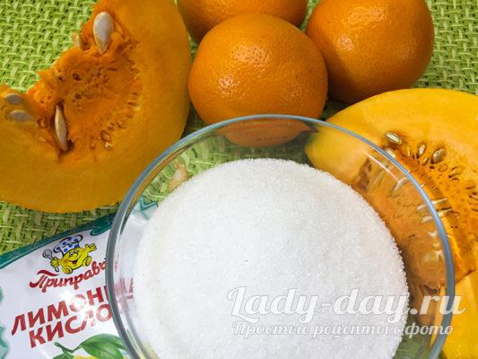 тыква, сахар, апельсин