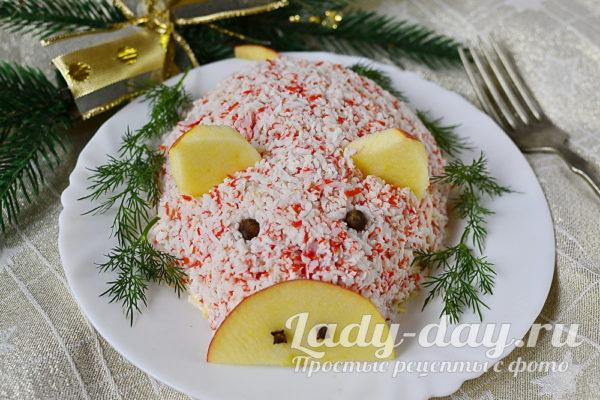Салат Поросенок на Новый год 2019 рецепт с фото пошагово