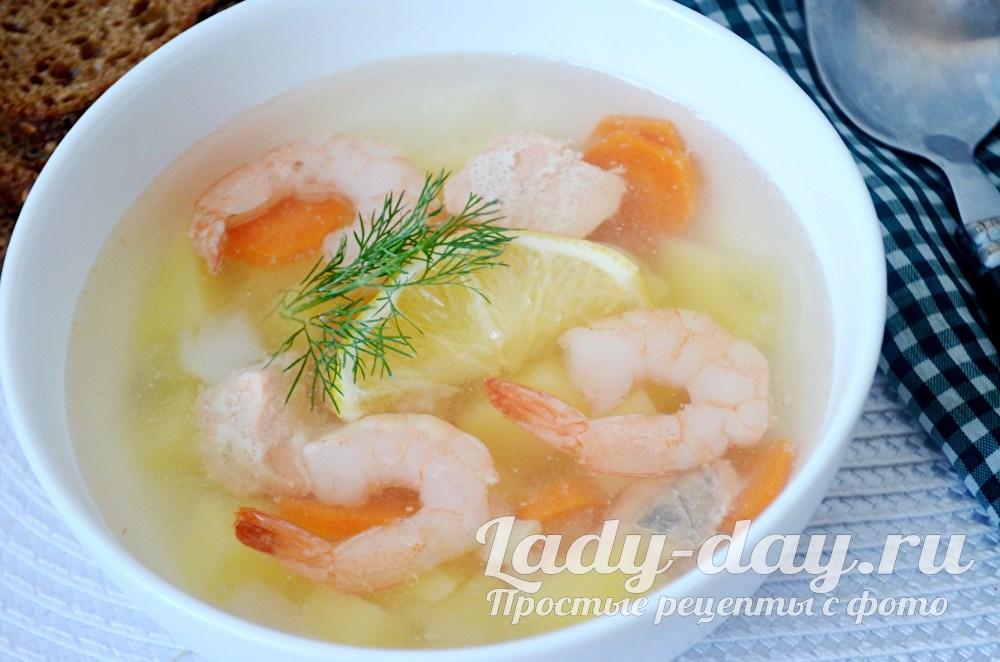 Суп с креветками очень вкусный