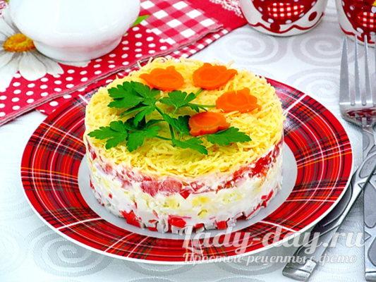 салат с крабовыми палочками вкусный и простой