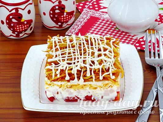 салат блондинка рецепт с фото с жареной картошкой