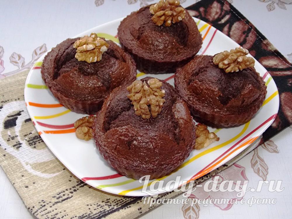 Шоколадные кексы в силиконовых формочках, рецепт с фото