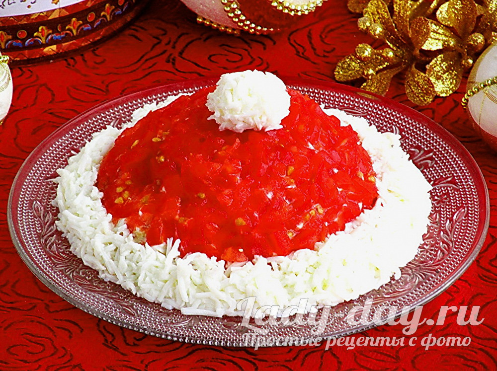 Салат «Шапка Деда Мороза» рецепт с фото