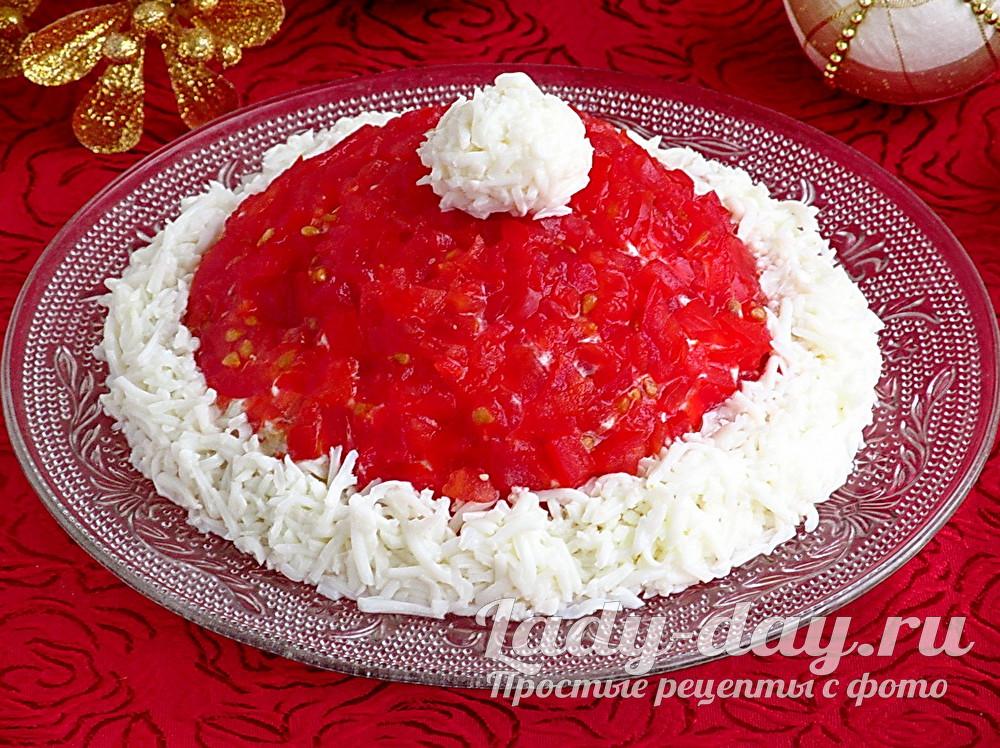 Салат «Шапка Деда Мороза» с фото