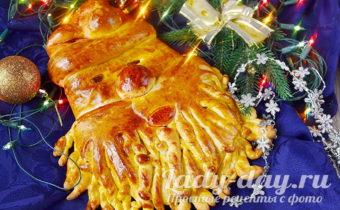 пирог Дед Мороз из теста