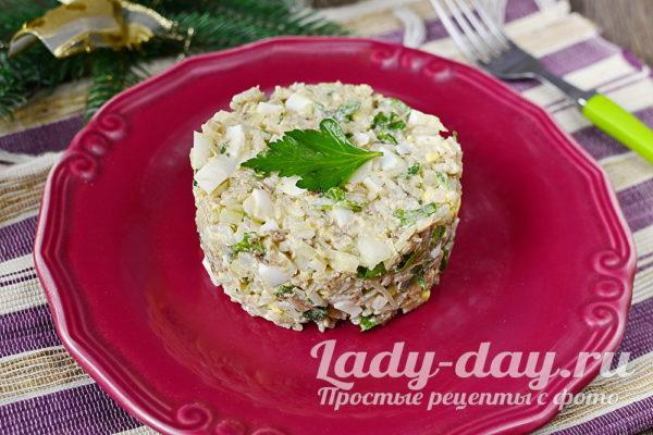 салат из сайры с рисом и яйцом