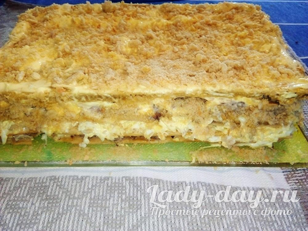 Закусочный торт с консервы