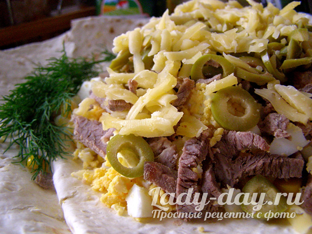 мясной салат с говядиной