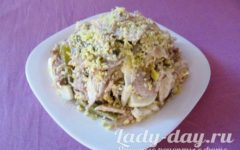 Салат с курицей и грибами: классический, простой рецепт