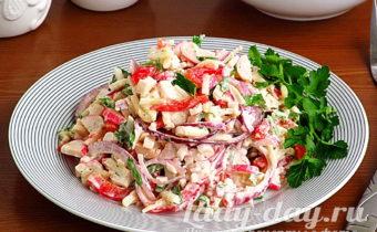 Салат с крабовыми палочками и яблоками, рецепт с фото очень вкусный