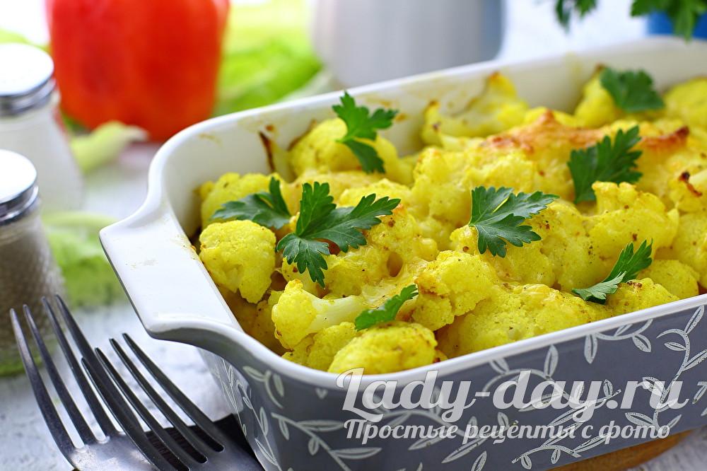 цветная капуста запеченная в духовке с сыром и яйцом