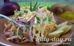 салат с блинами и копченой колбасой рецепт с фото
