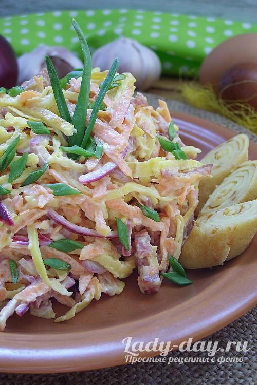 Салат с блинами и копченой колбасой: рецепт с фото