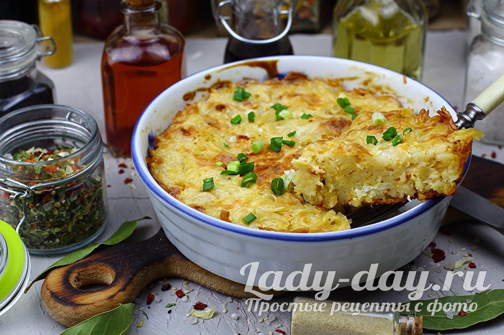 Запеканка из макарон с яйцом и сыром в духовке