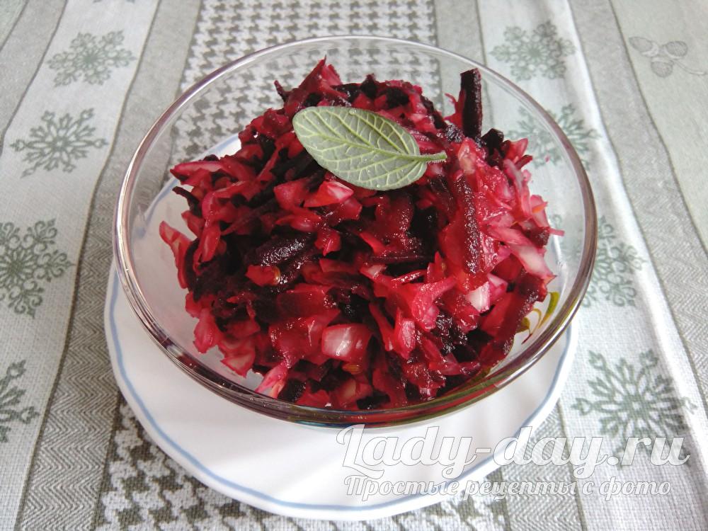 Рецепт салата из свеклы с квашеной капустой