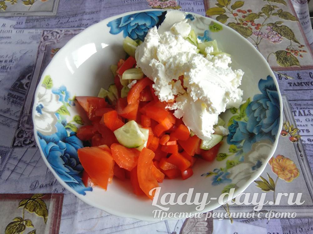 овощи и творожный сыр
