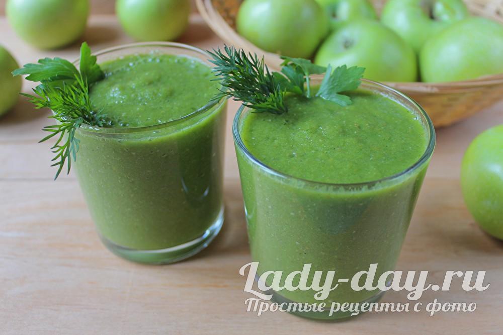 Зеленый коктейль, рецепт в блендере