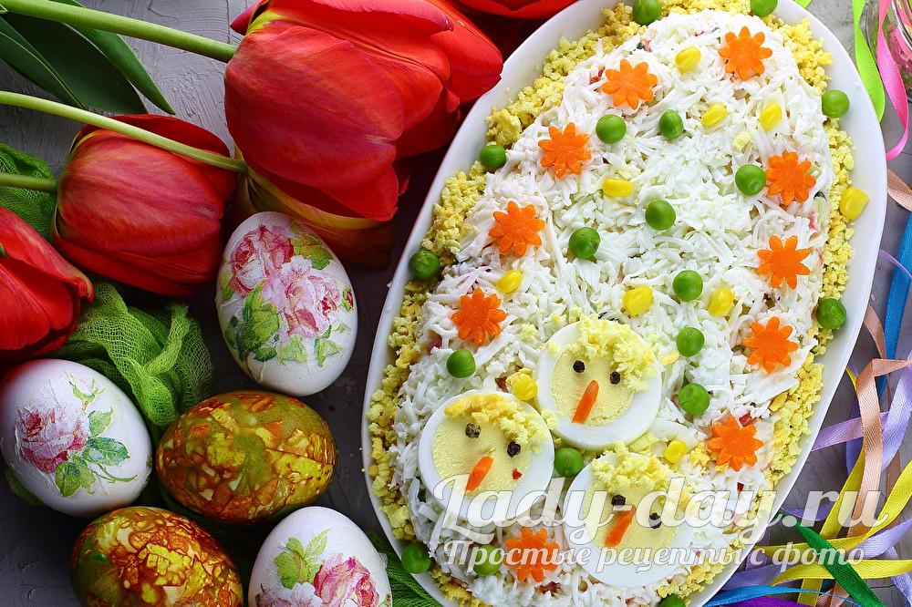пасхальный салат с крабовыми палочками