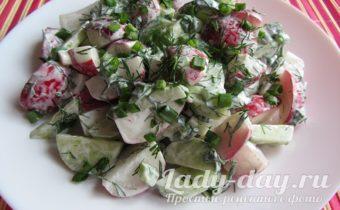 Рецепт салата из редиски и огурцов со сметаной фото
