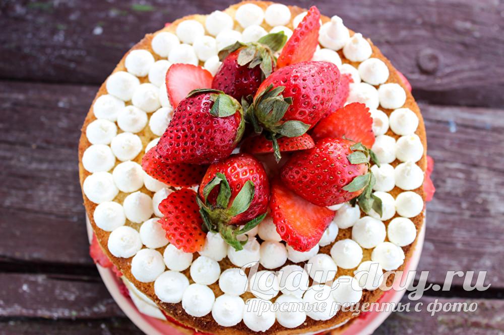 бисквитный торт с клубникой рецепт с фото пошагово