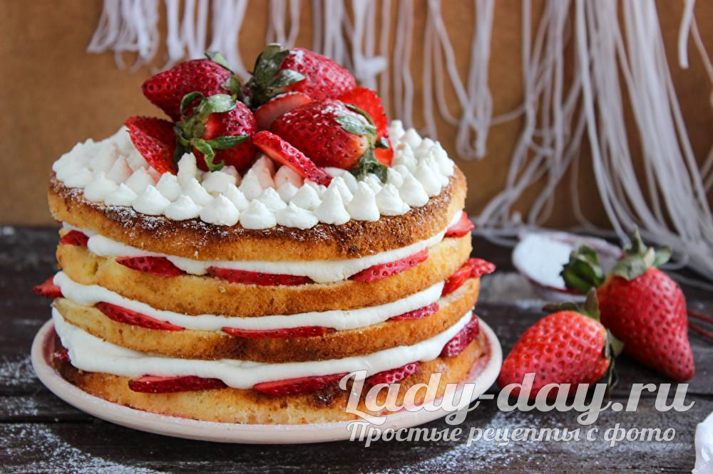 бисквитный торт с клубникой рецепт с фото