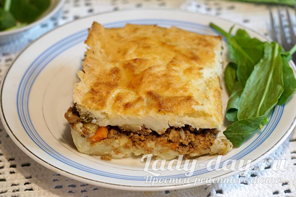 пирог из картофельного пюре с фаршем в духовке