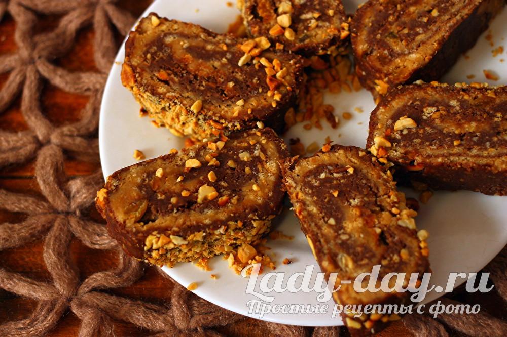 Сладкая колбаска из печенья и какао, рецепт