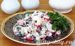 салат из крабовых палочек и фасоли рецепт с фото