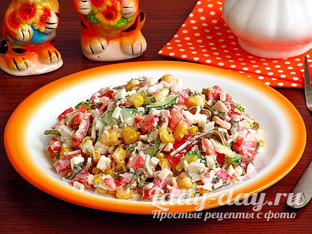 Салат из крабовых палочек и морской капусты рецепт с фото