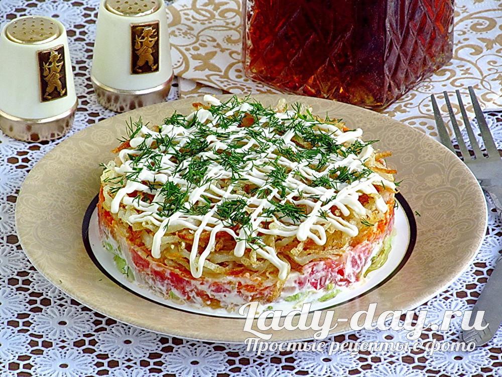 Слоёный салат очень вкусный