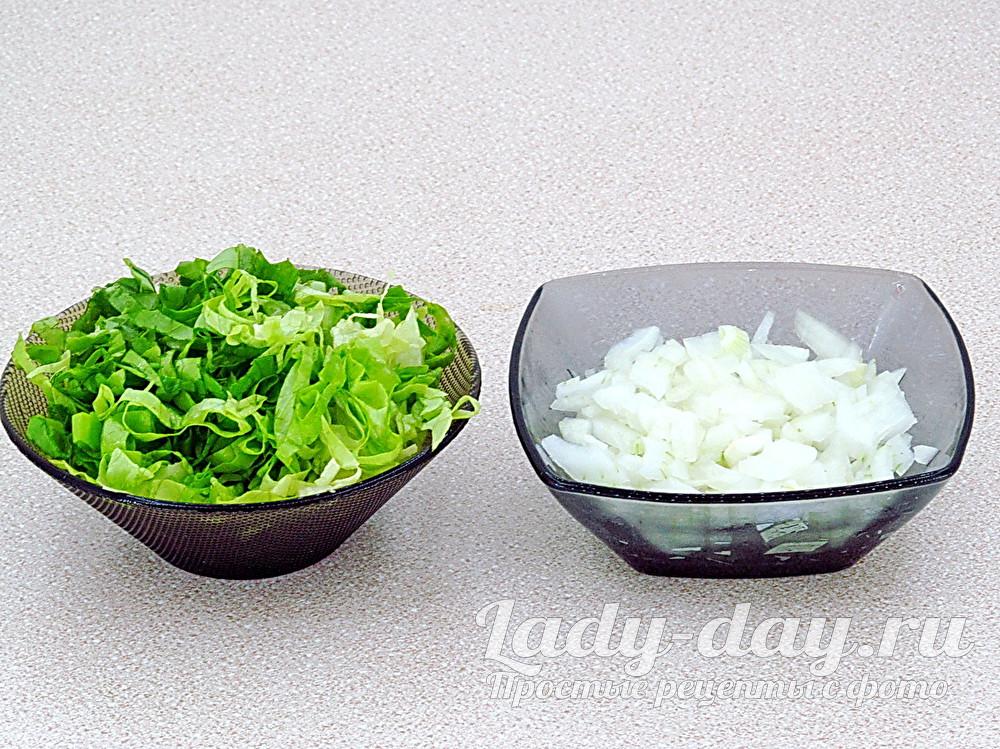 лук и салат