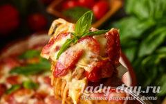 Запеченная пицца спагетти