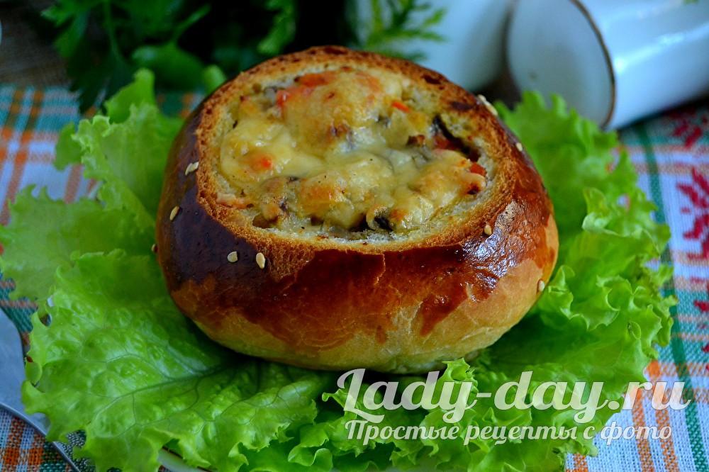 жульен в булочке с курицей и грибами рецепт с фото в духовке