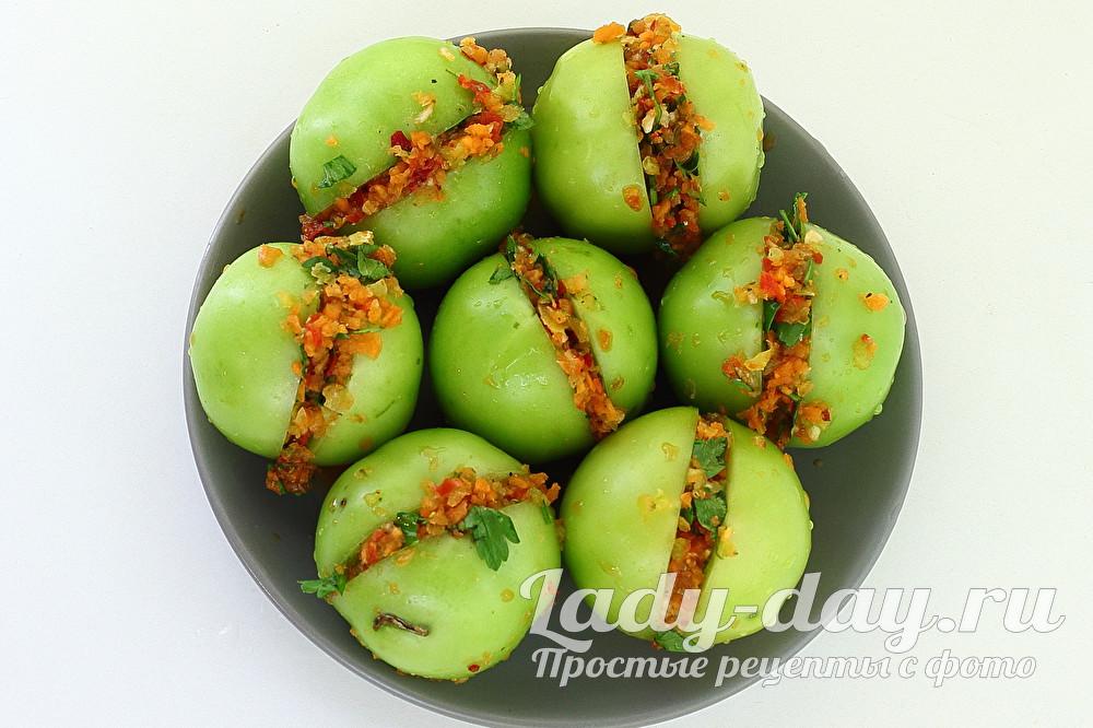 зеленые помидоры с начинкой