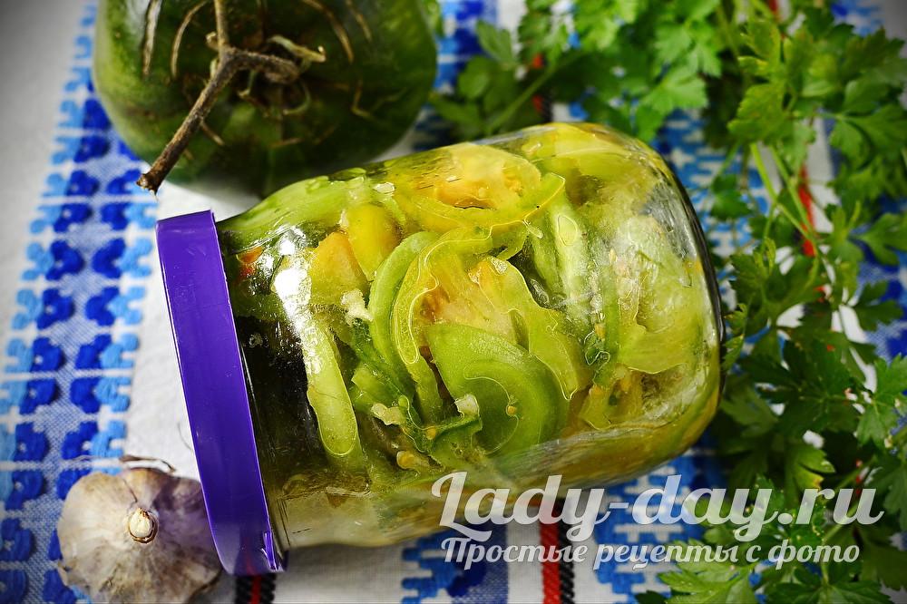 салат из зеленых помидоров на зиму без варки и стерилизации