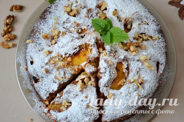 пирог с персиками рецепт с фото пошагово в духовке