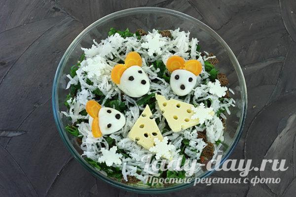 Салат на новый год «мышки на снегу»