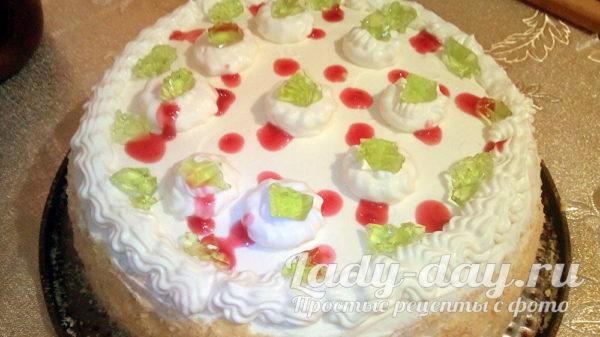 бисквитный торт с желейной прослойкой и кремом