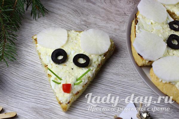 Бутерброды «Мыши» с яйцом и плавленым сыром
