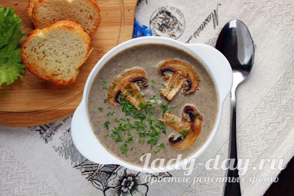 Крем-суп из шампиньонов со сливками, рецепт с фото пошагово