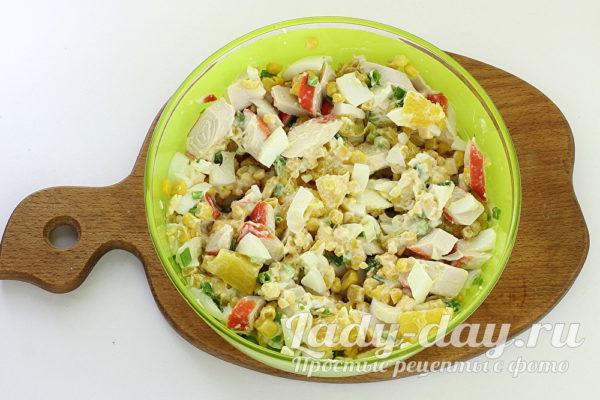 салат с крабовыми палочками и апельсином рецепт с фото очень вкусный